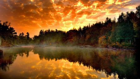 Misty Lake - lake, clouds, sunset, mists, forest, nature, reflection, trees