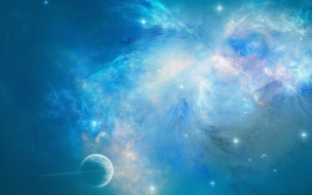 Blue space - space, nebulae, blue, cosmos, white, planet