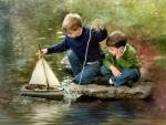 Boys With Toy Sailboat f