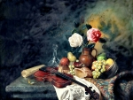 Roses, Fruit and Violin Still Life