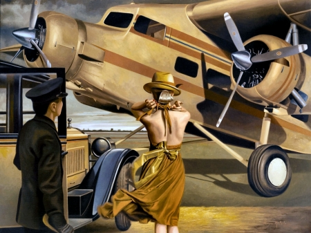 Travel by Air - aviation, scenery, beautiful, flight, artwork, airlines, painting, art, wide screen