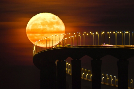 Full moon rising on December 14, 2016 - Aquitaine, La Rochelle, December 14, Re Island Bridge, Full moon rising, Rivedoux, Nouvelle, France, 2016