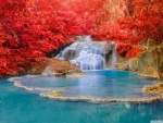 Red Forest, Waterfall, Turquoise Lake