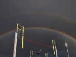 Rainbow over pole vault