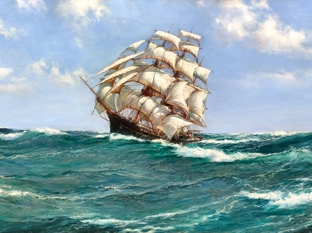 Pitching Sea F - painting, scenery, waves, art, sea, sailing ship, wide screen, artwork, beautiful, high seascape, ocean