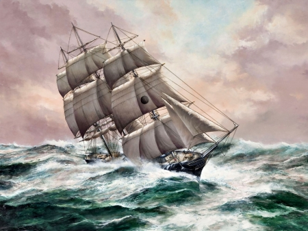 Sailing in the High Seas F - painting, scenery, waves, art, sea, sailing ship, wide screen, artwork, beautiful, high seascape, ocean