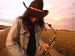 Cowgirl Sax Player..