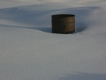 Burn Barrel Surrounded By Snow; Victor, Idaho