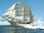 The sailing ship in the ice