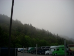 A Foggy Morning at the Truck Stop