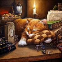 А.Маскаев * For CARMEN BONILLA *While the cat sleeps the mice make party