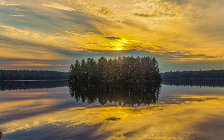 Lake - lake, sunset, tree, reflection