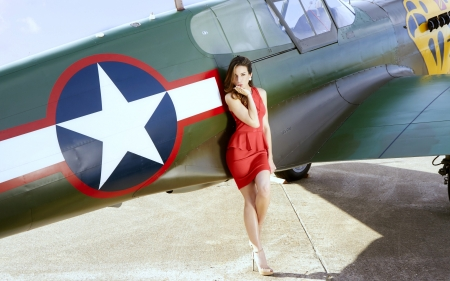 Model Posing with a Vintage WW2 Plane - brunette, aircraft, ww2, model, red dress