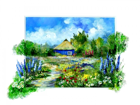 Garden House - floral, artwork, painting, love, art, romance, wide screen, flowers, garden, beautiful, beauty, flower