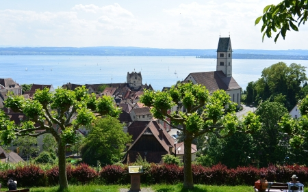 Meersburg, Lake Constance - lake, church, town, trees