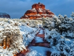 Snowfall on Bell Rock, Sedona, Arizona