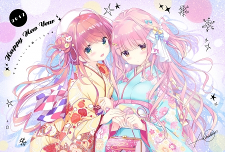 Happy New Year - new year, japan, japanese, kimono, long hair, christmas, girls, orginal, friends