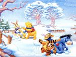 Winnie the pooh and Snowball fight: