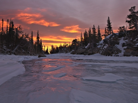 River Sunset - Nature, Sunset, River, Winter