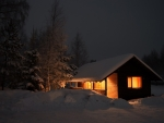Winter Cottage at Night