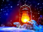 Winter Hurricane Lamp