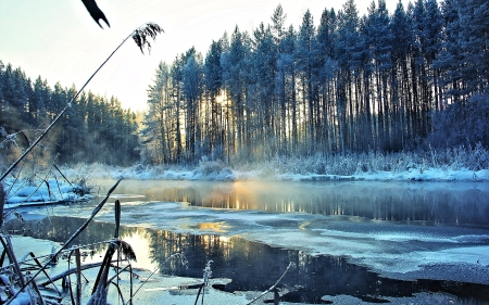 Lake in Winter - Lake, Winter, Nature, Snow