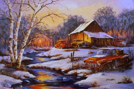 Classic Cars in Winter - winter, snow, xmas and new year, sunsets, attractions in dreams, love four seasons, paintings, holidays, streams, classic cars, rural