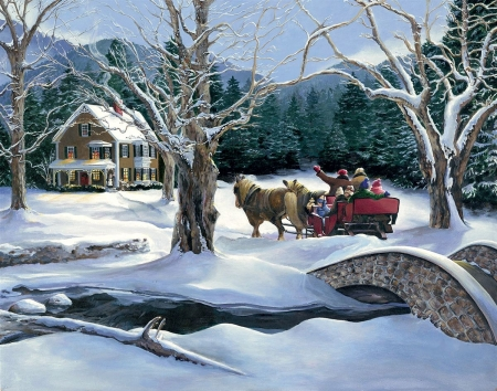 Over The River - snow, sleigh, bridge, winter, cottage, people, horse, trees, painting, artwork, mountains