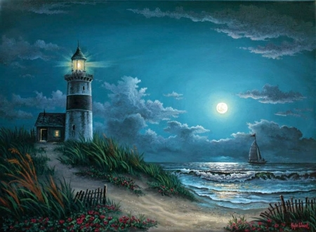 lighthouse - sea, night, lighthouse, moon, art