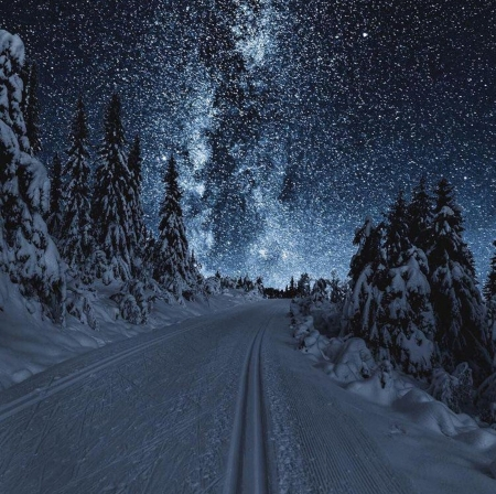 Milky Way at winter - winter, stars, night, snow
