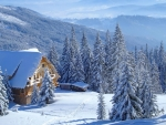 Mountain cottage in winter
