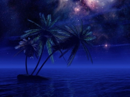 Ocean dreams - palm, sea, island, blue