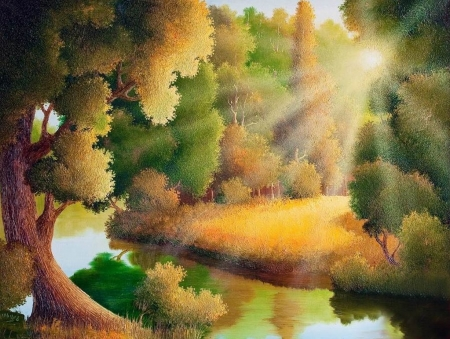 Inspiration - painting, splendor, forest, tree, nature