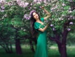Model in Green Dress with Flowers