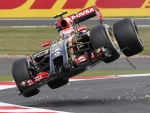 Pastor Maldonado crashes in F1 British GP 2014