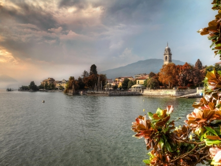 Pallanza City,Italy - flowers, pallanza, clouds, italy, river, sky, nature, city, houses