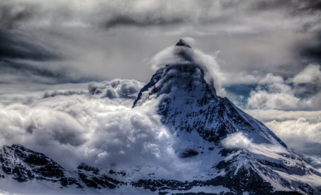 Snowy Peak - winter, clouds, mountains, landscape, snowy, nature