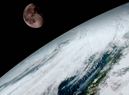 Moon over Planet Earth - space, cool, moon, earth, fun, planet