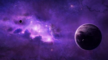 Deep Space Violet - space, stars, galaxies, moons, violet, planet