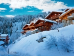 Ski resort with winter chalets - France