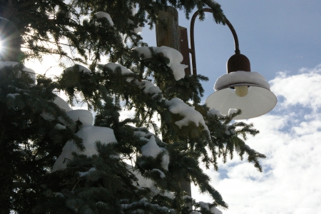 Street Light in Teton Village, Wyoming - Snow, Trees, Resorts, Lights, Mountains, Recreation, Clouds, Sky