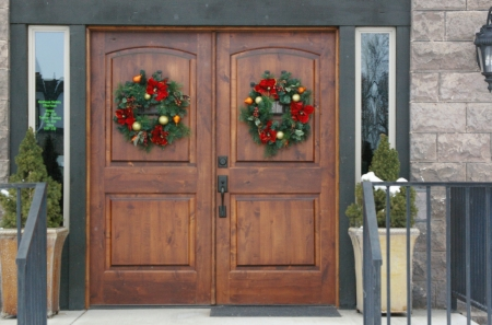 Doors at Dental Office; Rexburg, Idaho - Businesses, Winter, Dentist, Snow, Office Buildings, Decorations, Buildings, Doors, Holiday