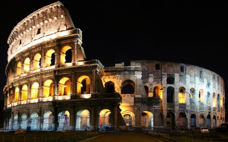Colosseum at Night - ancient, building, structure, italy, rome, colosseum