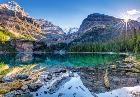 Lake O'Hara, Canada - mountains, rocks, sun, reflection, water