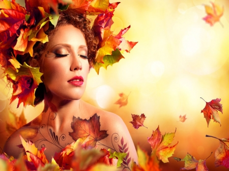 ❤ - Leaves, Autumn, Beautiful, Model