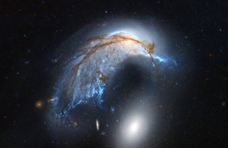 The Porpoise Galaxy from Hubble - space, cool, stars, galaxies, fun