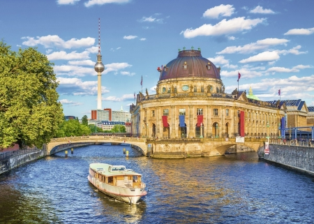 Berlin Museums - TV Tower, trees, building, river, germany, ship, city, bridges