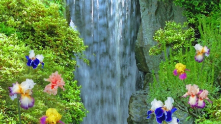 Mountains Falls - mountains, flowers, waterfall, forest, nature, trees, iris