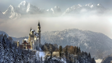 Winter Morning in Bavaria - peaks, neuschwanstein, alps, landscape, mist, mountains, castle