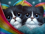 Fairy Cats with Rainbow Wings
